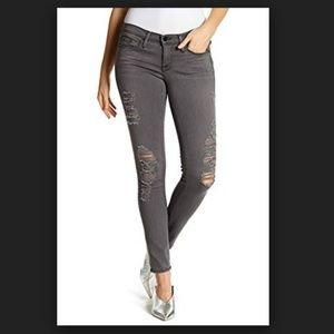 [Frame] Grey Shred Distressed Skinny Jeans